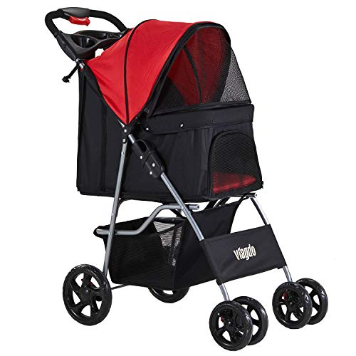 VIAGDO Dog Stroller, Pet Strollers for Small Medium Dogs & Cats, 4 Wheels Dog Jogging Stroller Folding Doggy Stroller with Storage Basket for Dog & Cat Traveling Strolling Cart (Black&Red)