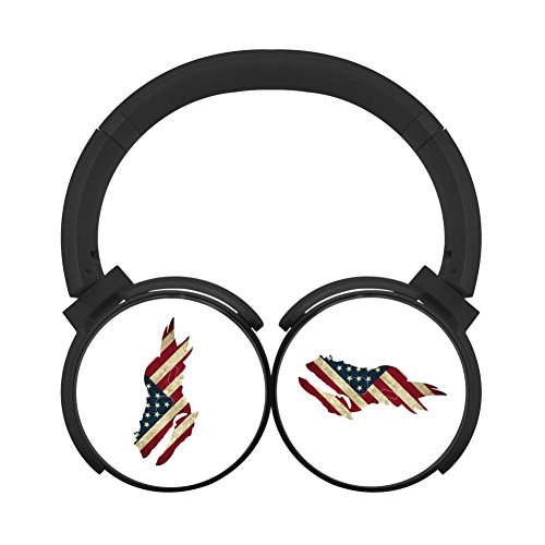 Noise Reduction Wireless Hifi Stereo Bass Over Ear Bluetooth Headset Foldable Soft Memory Protein Earmuffs For Pc/Cell Phones/Tv 3.5Mm Plug Print Dinosaur Skull Flag ()