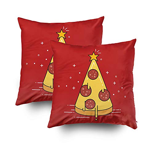 Musesh My Pillow Case Throw Pillows Pizza Christmas Tree with Star On Top Flat Design Vector Illustration for Sofa Home Decorative Pillowcase 18X18 Set of 2 Pillow Covers