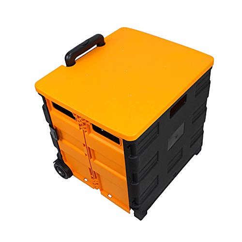 HSOMiD Wheeled Collapsible Handcart Portable Tools Carrier Plastic Foldable Crate Telescopic Handle Foldable Multi-Function Rolling Shopping Cart