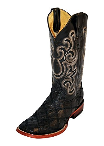 Ferrini Men's Ostrich Patchwork Exotic Western Boot Square Toe Black 8.5 D(M) US 11693-04