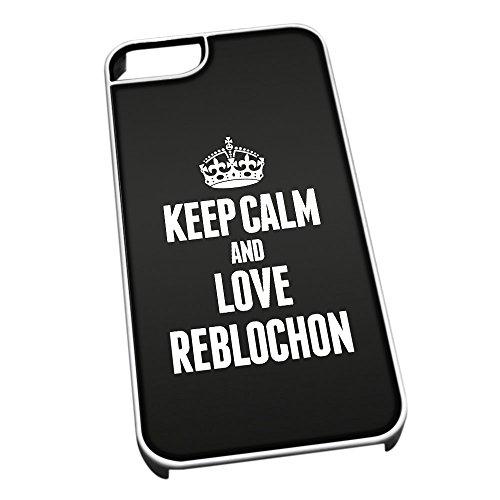 Bianco cover per iPhone 5/5S 1449nero Keep Calm and Love Reblochon