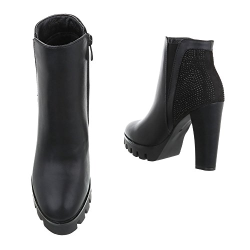 plisadas Botas Design negro Mujer Ital 7w4Uqqx