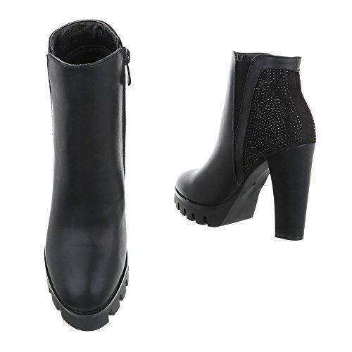 plisadas Mujer Ital Design negro Botas X0xOHqnw6S