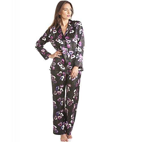 a983bad7546c2 Camille Womens Ladies Black Floral Print Satin Pyjama Set 14 BLACK ...