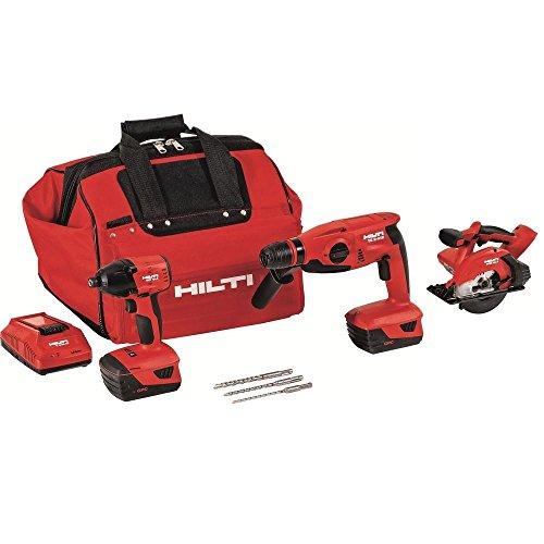Hilti 3490200 18-Volt Lithium-Ion Cordless Impact Driver/Metal Cutting Circular Saw/Rotary Hammer Drill Combo Kit