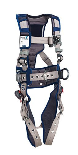 3M DBI-SALA 1112566 ExoFit STRATA, Aluminum Back/Side D-Rings, Tongue Buckle Leg Straps with Sewn in Hip Pad & Belt, Medium, Blue/Gray -