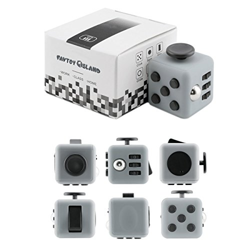 FAVTOY ISLAND - 6 Way Fidget Stress Cube, Anxiety Reduction Toy Cube for Adults and Children - Sonic Gray and Black
