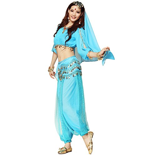 Belt Harem Coin (Pilot-trade Women's Belly Dance Costume 3-Pieces Lanterns Sleeves Top Harem Pants Hip Scarf Belt Light)