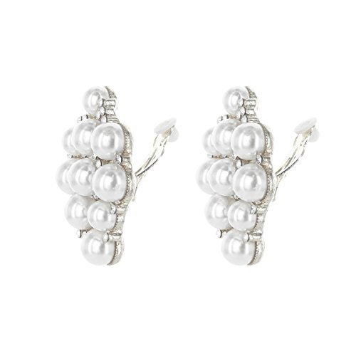 SP Sophia Collection Simulated Floral Pearl Blossom Multi Strand Necklace and Earring Set in White, Clip On Earring 2 Set