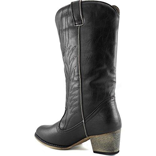 Legend Boot DailyShoes Women's PU Black Cowboy High Embroidered Knee Western E0d6qd