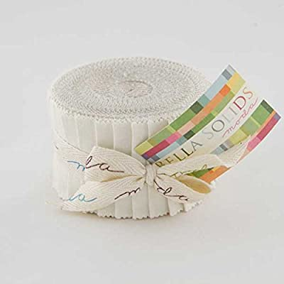 Moda Bella Solids White Junior Jelly Roll by Moda Fabrics