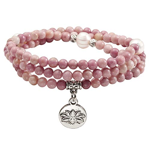 Top Plaza 4mm Tibetan Natural Rhodochrosite Pearl Healing Crystal Gemstone 108 Mala Prayer Beads Stretch Bracelet Necklace with Lotus Charm ()