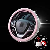 New Diamond Leather Steering Wheel Cover with Bling Bling Crystal Rhinestones, Universal Fit 15 Inch Car Wheel Protector for Women Girls