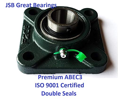 (Premium UCF207-22 Double Seals ABEC3 Square Flange Bearings 1-3/8 bore UCF207 22)