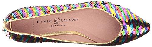 Chinese Laundry Womens Gavin Spetsig Tå Platt Regnbåge Paljetter