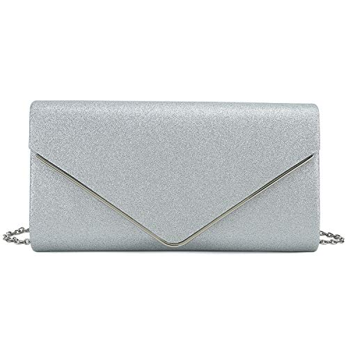 Charming Tailor Metallic Glittered Evening Bag Women Envelope Clutch Bling Purse for Wedding/Parties (Silver)