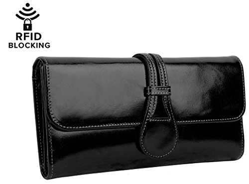 YALUXE Womens Luxury Leather Trifold