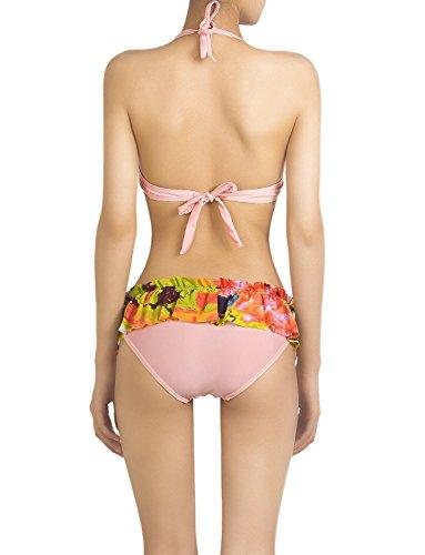 iB-iP Mujer Frente Del Volante Tie-Dye Cordón De Poca Altura Conjunto De Bikini Rosa claro