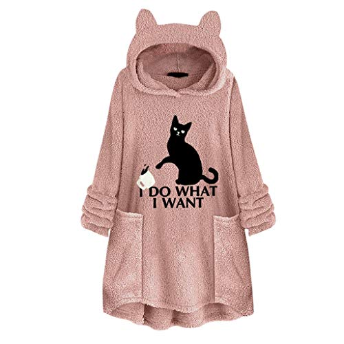 TWGONE Cat Ear Hoodie, I Do What I Want Cat Shirt Women Fleece Embroidery Plus Size Hooded Pocket Top Sweater Blouse(X-Large,Pink)