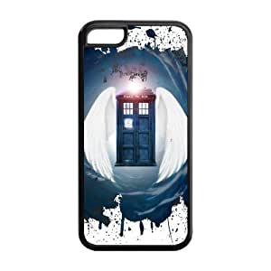 IPhone 5C Case,IPhone 5C case cover,Custom TPU Soft Doctor Who Tardis Case Cover Protector for iPhone 5C (Black/White)