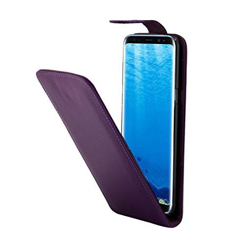 Color sólido para la caja vertical del cuero del tirón con la ranura para tarjeta Samsung Galaxy S8 + / G9550 by diebelleu ( Color : Magenta ) Purple