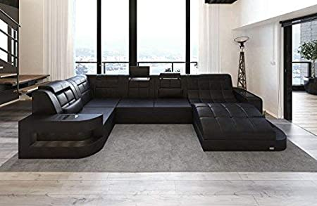 Sofa Dreams Leder Wohnlandschaft Wave U Form Schwarz Schwarz Amazon