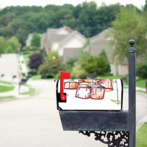 THKDSC Hand Drawn Musical Drum Set Mailbox Covers Standard Size Original Magnetic Mail Cover Letter Post Box 21