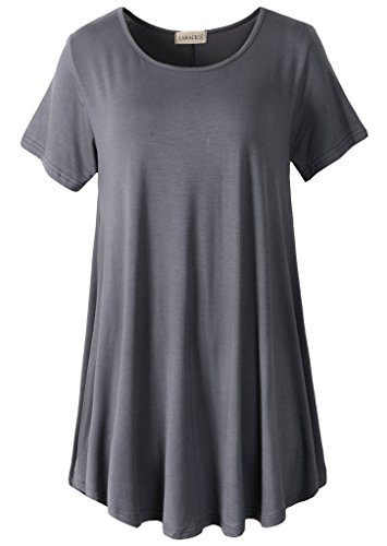 LARACE Women Short Sleeves Flare Tunic Tops for Leggings Flowy Shirt (1X, Deep Gray) ()