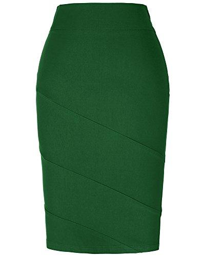 (Kate Kasin Women's Casual Cotton Pencil Skirt Knee Length Dark Green M KK269-5)