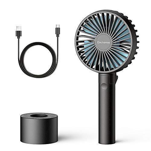 - Elechomes Mini Handheld Fan Small USB Personal Portable Desk Table Fan Rechargeable Battery Operated Folding Travel Fan for Desk Camping Sleeping Laptop Office Room Outdoor Black
