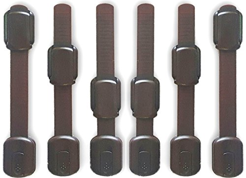 WONDERKID Top Quality Adjustable, Reusable Child Safety Locks - Latches to Baby Proof Cabinets, Doors & Appliances ... (Brown, 6 pack)
