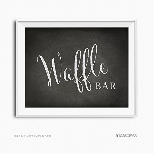 (Andaz Press Wedding Party Signs, Vintage Chalkboard Print, 8.5x11-inch, Waffle Bar Reception Dessert Table Sign, 1-Pack, Unframed)