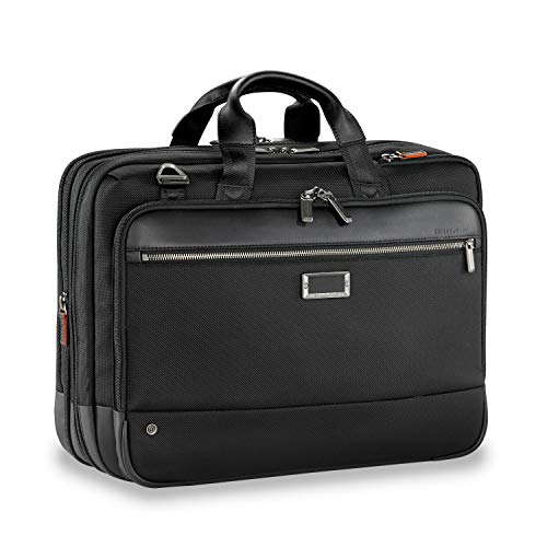 (Briggs & Riley Large Expandable Brief Briefcase, Black, One Size)