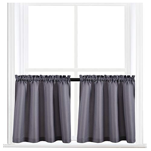 Valea Home Waffle Weave Textured Half Window Tier Curtains for Kitchen Water Repellent Window Covering Bathroom Short Curtains, 72 x 24, Grey, Set of 2