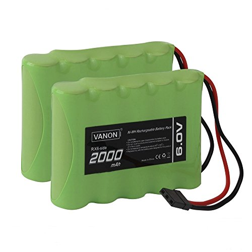 Pack 4.8v Receiver (VANON 6V 2000mAh Rechargeable RX Battery Packs and Hitec Connector for Model Airplanes, RC Aircrafts (2-Pack))
