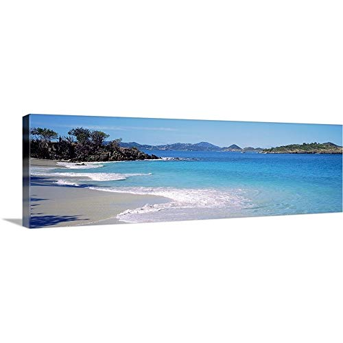 GREATBIGCANVAS Gallery-Wrapped Canvas Entitled Waves Crashing on The Beach, Turtle Bay, Caneel Bay, St. John, US Virgin Islands by - Beaches Bay Caneel