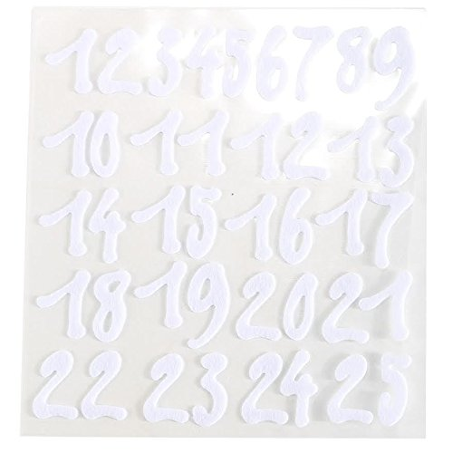 - CraftbuddyUS 25 x Stick on NUMBERS White Felt Self Adhesive 1 2 3...............25