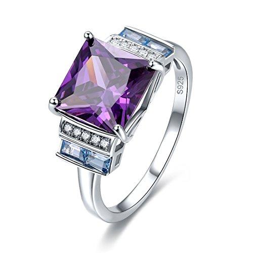 Merthus Womens 925 Sterling Silver Created Amethyst Princess Cut Ring