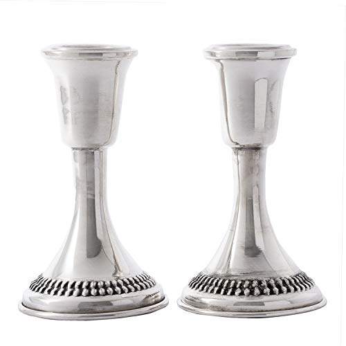 (Tall Sterling Silver Candlesticks Classic Judaica Traditional Design Candle Holder Shabbat Candles Beautiful Jewish Wedding)