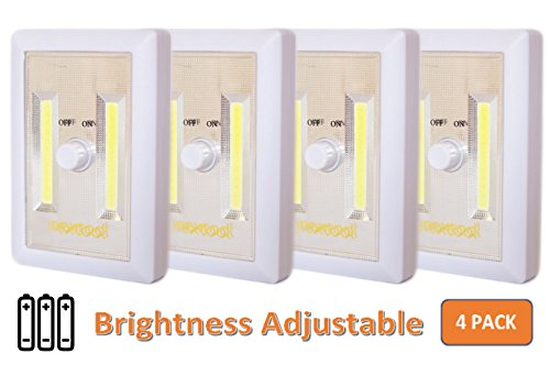 [New Arrival] 4-Pack Adjustable Brightness, Dimmable Battery Included COB LED Cordelss Switch Light, Tap Light, Battery Operated LED Night Lights, Batteries & Adhesive Strips (Included), White