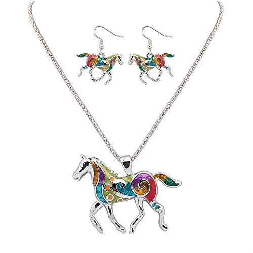 CHUYUN Colorful Animal Earring and Necklace Jewelry Sets 7 Different Animals for Chose (silver horse)