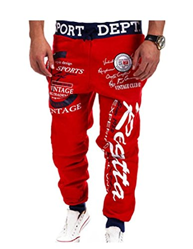 MO GOOD Men's Casual Letter Pattern Printing Sport Baggy Jogger Long Pant (XXL, red-navy)