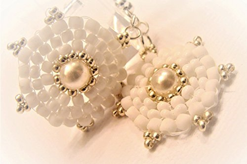 White and Silver Beaded Earrings with Pretty Pearl Focal Bead