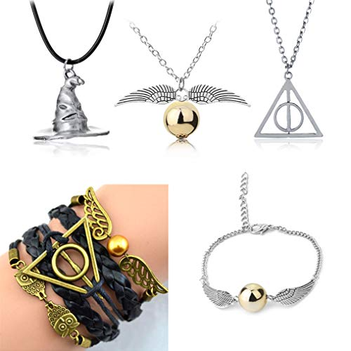 Harry Potter Necklace Set 5 Pieces Cosplay Pendant Necklaces Time Turner Deathly Hallows Golden Snitch for Girls Kids Decoration Toy Harry Potter Fans Hogwarts Gifts or Decorations -