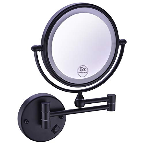 - Anpean 8 Inches LED Lighted Hardwired Wall Mount Makeup Mirror with 5x Magnification, Matte Black