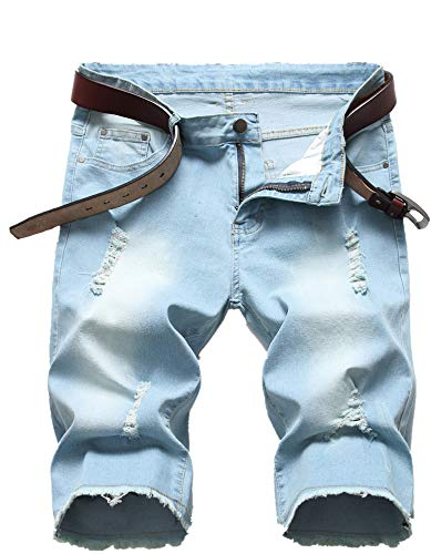 - Men's Light Blue Summer Ripped Vintage Washed Distressed Straight Fit Knee Length Denim Shorts