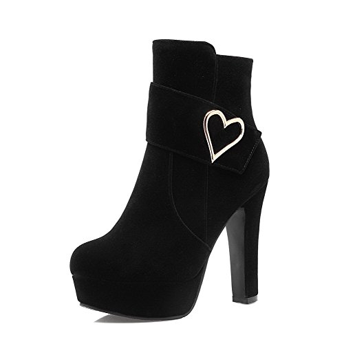 Allhqfashion Mujeres Round Closed Toe Low Top High Heels Botas De Helados Sólidos, Negro, 41