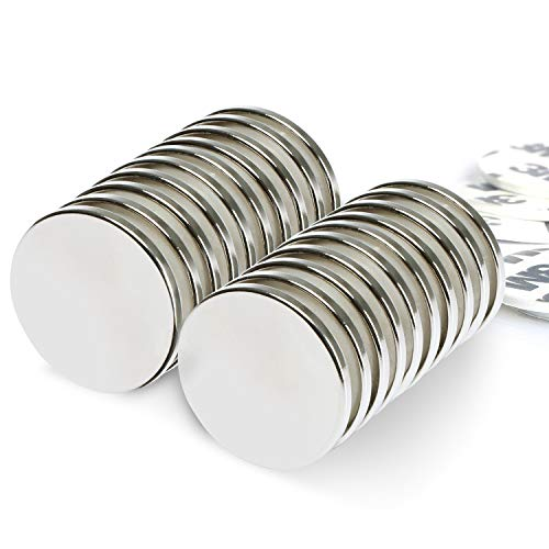 Whectin Strong Neodymium Disc Magnets with Adhesive Permanent Rare Earth Magnets for Fridge DIY Building Craft Office Magnets,1.26
