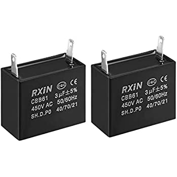 uxcell CBB61 Run Capacitor 450V AC 1.8uF 2 Wires Metallized Polypropylene Film Capacitors for Ceiling Fan 2pcs